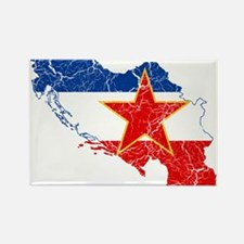 Yugoslavia Flag And Map Rectangle Magnet