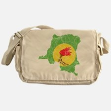 Zaire Flag And Map Messenger Bag