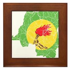 Zaire Flag And Map Framed Tile