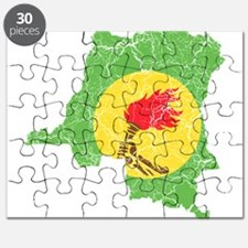 Zaire Flag And Map Puzzle