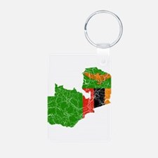 Zambia Flag And Map Keychains