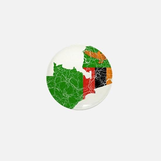 Zambia Flag And Map Mini Button