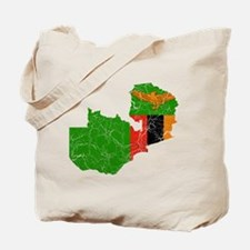 Zambia Flag And Map Tote Bag