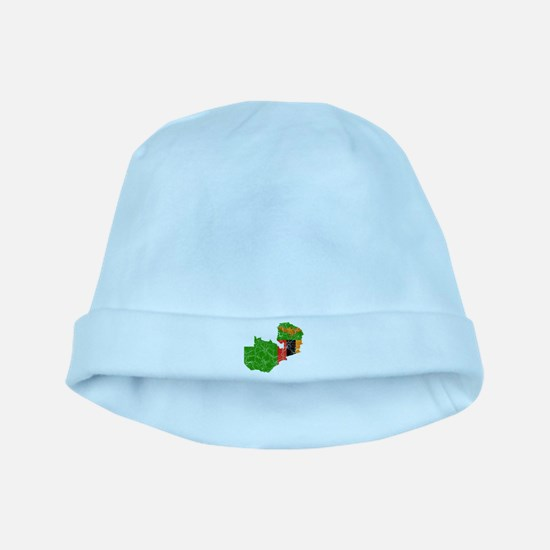 Zambia Flag And Map baby hat