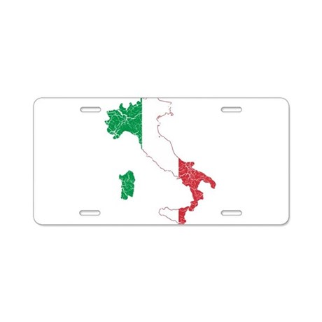 Italy Flag And Map Aluminum License Plate