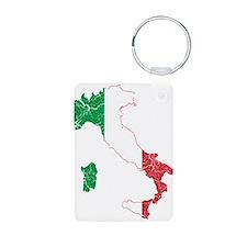 Italy Flag And Map Aluminum Photo Keychain