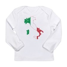 Italy Flag And Map Long Sleeve Infant T-Shirt