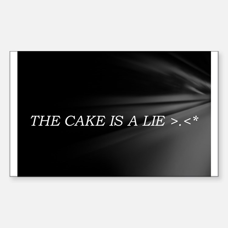 The Cake Is A Lie!! Sticker (Rectangle)