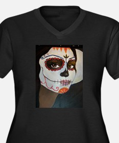 Day of the Dead Women's Plus Size V-Neck Dark T-Sh