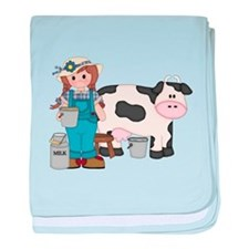 Dairy Farm Girl baby blanket