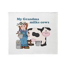 My Grandma Milks Cows Throw Blanket