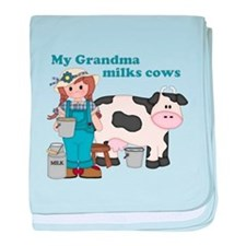 My Grandma Milks Cows baby blanket
