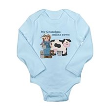 My Grandma Milks Cows Long Sleeve Infant Bodysuit