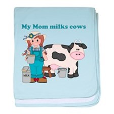 My Mom Milks Cows baby blanket
