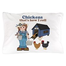 Girl With Chickens Pillow Case