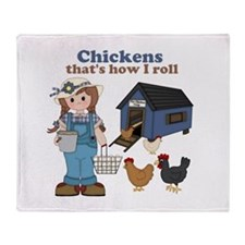 Girl With Chickens Throw Blanket
