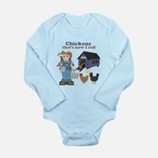 Girl With Chickens Long Sleeve Infant Bodysuit