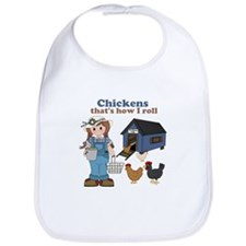 Girl With Chickens Bib