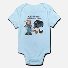 Girl With Chickens Infant Bodysuit