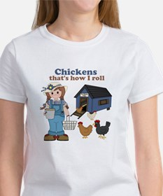 Girl With Chickens Women's T-Shirt