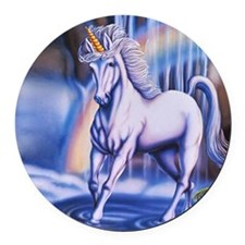 Unicorn Falls Round Car Magnet