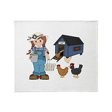 Farm Girl Chickens Throw Blanket