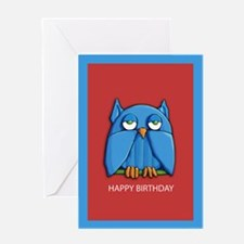 Aqua Owl red Birthday Card
