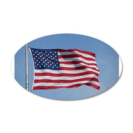 usa american flag 35x21 Oval Wall Decal