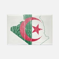 Algeria Flag And Map Rectangle Magnet