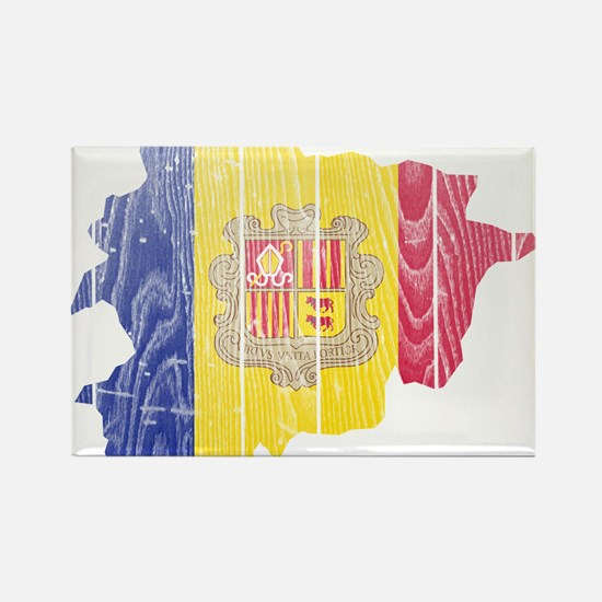 Andorra Flag And Map Rectangle Magnet
