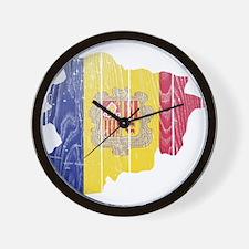 Andorra Flag And Map Wall Clock