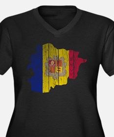 Andorra Flag And Map Women's Plus Size V-Neck Dark