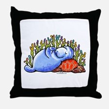 Sea Turtle n Manatee Throw Pillow