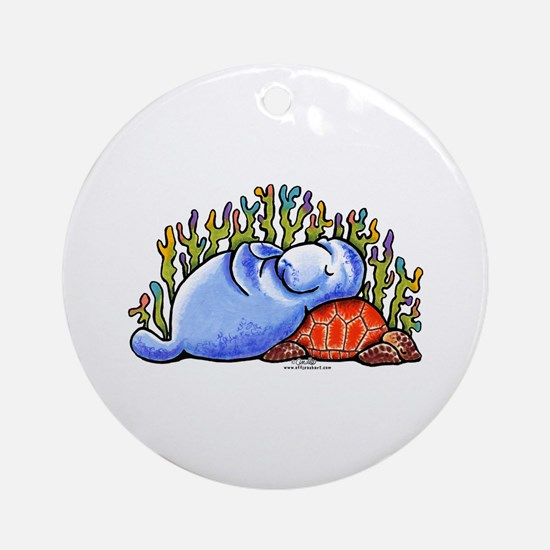 Sea Turtle n Manatee Ornament (Round)