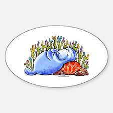Sea Turtle n Manatee Sticker (Oval)