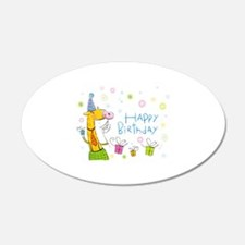 Happy Birthday Giraffe 22x14 Oval Wall Peel