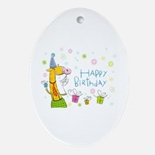 Happy Birthday Giraffe Ornament (Oval)