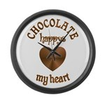 Chocolate Heart Large Wall Clock