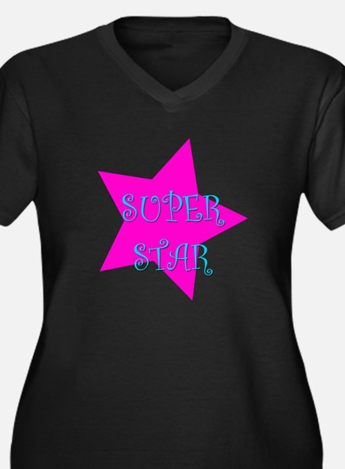 Super Star Women's Plus Size V-Neck Dark T-Shirt