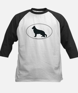 German Shepherd Silhouette Kids Baseball Jersey