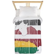 Baltic States Flag And Map Twin Duvet