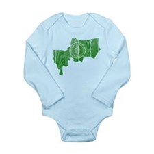 Bangkok Flag And Map Long Sleeve Infant Bodysuit
