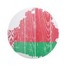 Belarus Flag And Map Ornament (Round)