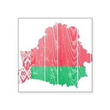 "Belarus Flag And Map Square Sticker 3"" x 3"""