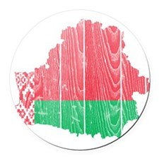 Belarus Flag And Map Round Car Magnet