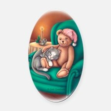 Ms B and Teddy Oval Car Magnet