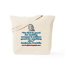 Benjamin Franklin Quote Tote Bag