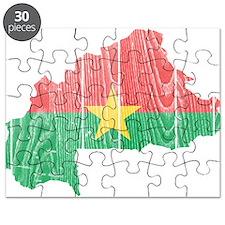 Burkina Faso Flag And Map Puzzle