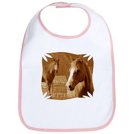 horse sepia picture Bib