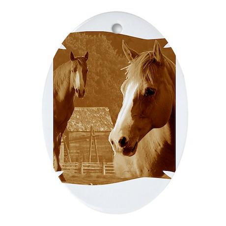 horse sepia picture Ornament (Oval)